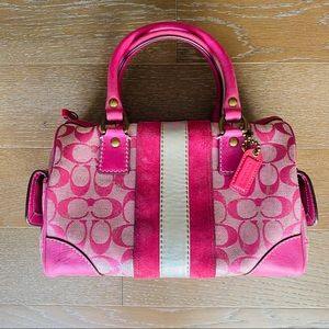 Coach Monogram Leather & Suede | Pink/Silver